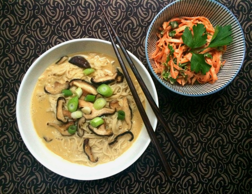 Creamy miso ramen soup red violet for Aura world fusion cuisine