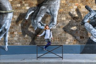 street art canal jump