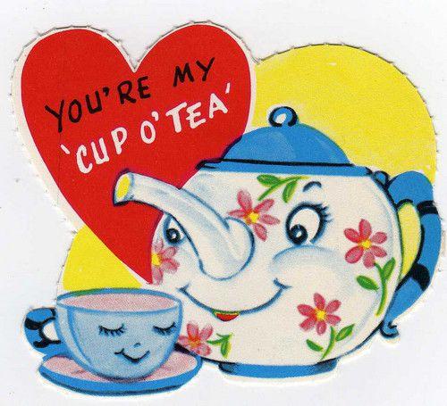 vintage v card teapot